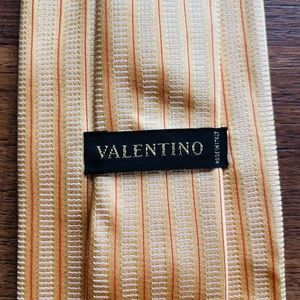 Valentino Golden Orange Striped Silk Tie